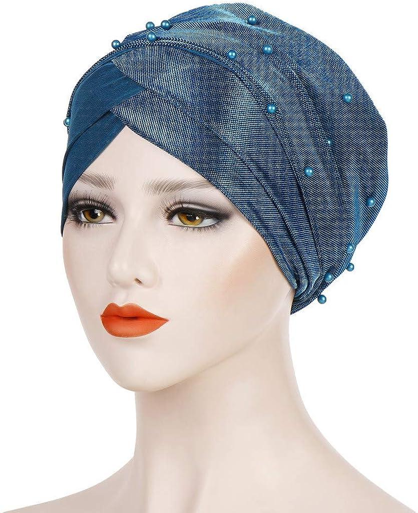 GreatestPAK Damen Einfarbig Zopf Kopf Mütze Kopftuch Hijab Druck Rüsche Turban Hellblau_14