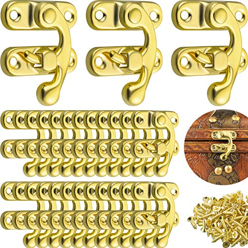 60 Sets Thickened Solid Antique Right Latch Hook with Screws Tone Right Latch Hasp Horn Lock Swing Arm Latch for Wood Jewelry Box and Suitcase Case (Gold)