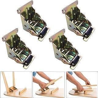 VintageBee 4 Pack Lock Extension Table Bed Leg Feet Steel Folding Foldable Support Bracket Screw (Galvanized)