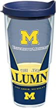 Tervis 1223713 Michigan Wolverines Alumni Tumbler with Wrap and Navy Lid, 24 oz - Tritan, Clear