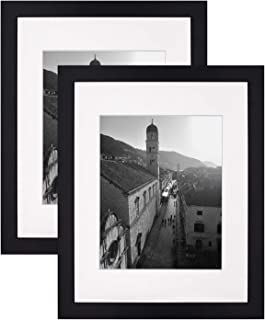 Golden State Art,Black 11x14 Photo Wood Frame with 8x10 Mat (2 Frames per Box)