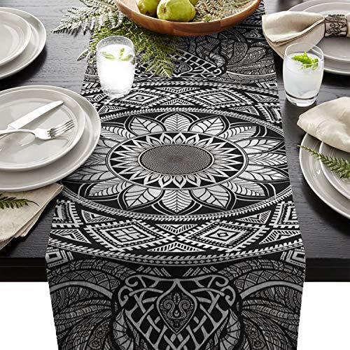 FAMILYDECOR Linen Burlap Table Runner Dresser Scarves, Mandala Elephant Indian Boho Bohemian Hipper Design Kitchen Table Runners for Dinner Holiday Parties, Wedding, Events, Decor - 13 x 70 Inch