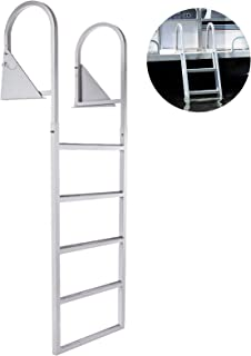 BestEquip Aluminum Dock Ladder 5 Steps, Boat Dock Ladder 21-Inch Wide Step, Aluminum Boat Ladder Removable Dock Stairs w/Handrail Flip-Up Marine Boarding Dock Ladder Stainless Steel Mounting Hardware