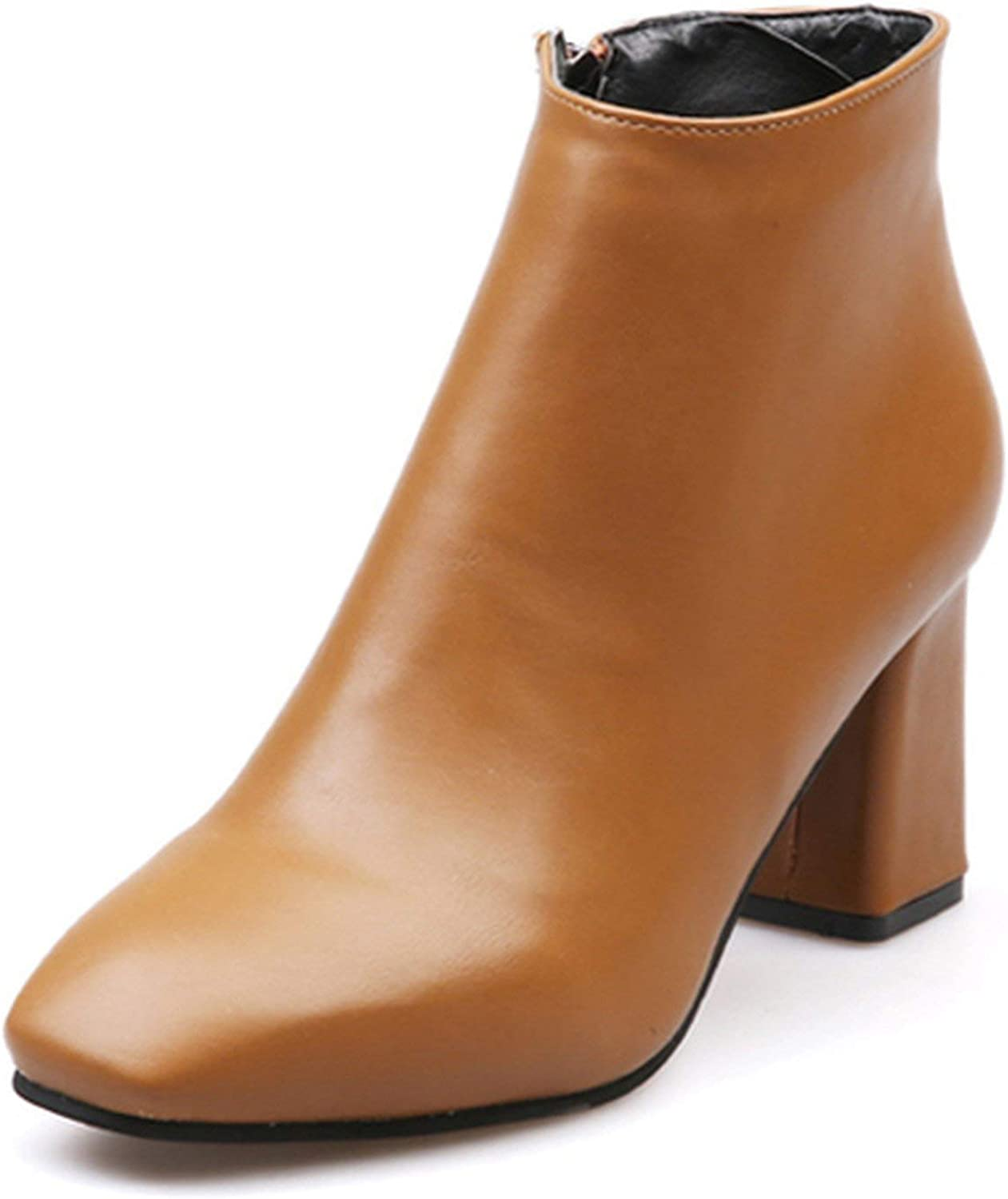 Summer-lavender Spring Autumn Chelsea Boots Women Rubber Sole High Heels Ankle Boots Leather shoes
