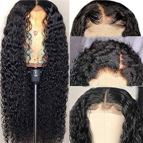 SINGLE BEST 13x4 Water Wave lace Front Wigs Human Hair For Black Women Brazilian Virgin Hair Short Curly Lace Front Wigs 180% Density Natural Black (20inch)