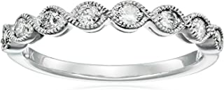 14k White Gold Milgrain Diamond Band (1/4 cttw, IJ Color, I2-I3 Clarity)