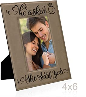 He asked, She said Yes Engraved Leather Picture Frame, Engagement Gifts, Wedding Gifts, Bride to Be, Groom to Be, We're Engaged Photo Frame, Proposal Gifts, She's the One Surprise (4x6-Vertical)