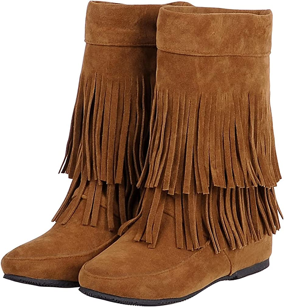 Furcross Womens Pull On Tassel Flat Cowgirl Boots Comfortable Round Toe Suede Winter Snow Boots Western Shoes Ankle Boots