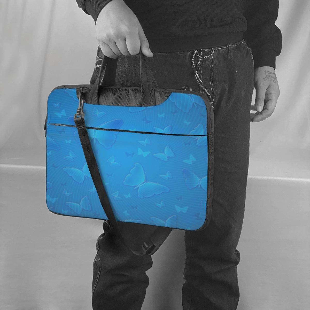 Laptop Shoulder Bag Blue Beautful Butterfly Carrying Handbag Briefcase Sleeve Case 13 Inch