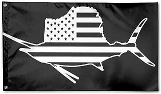 WINDST Personalized American Flag Sailfish Fish Fishing Vinyl Logo Garden Flag 3x5 ft Outdoor Garden Decorative Banner Black