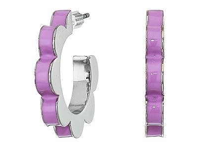 Kate Spade New York Sliced Scallops Enamel Huggies Earrings (Lilac) Earring