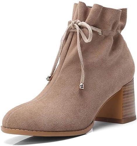Bottes Xiaolin Chaussures à Talons Bas Western Martin pour Femmes Dentelle à la Cheville à Talons Hauts (Couleur   A, Taille   US5 EU35 UK3 CN34)