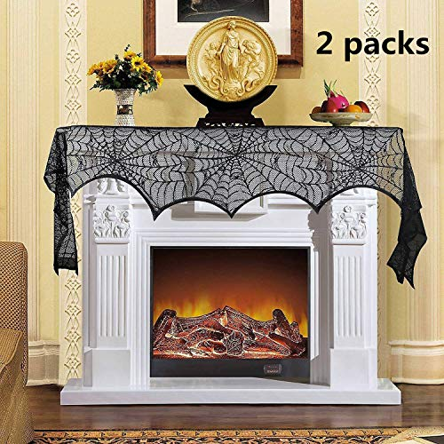 Byou spinnenweb-jas, sjaal, kant, vleermuis, jas, sjaal, 2 stuks, zwart spinnennet, gordijn voor Halloween, open haard deur, tafel raam, 18 x 96 inch