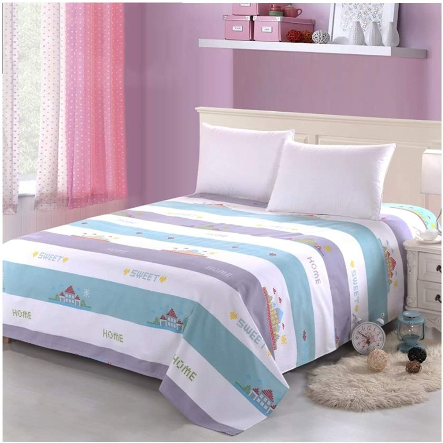 Sheets, 100% Cotton Non-Fading Bedroom Hotel 1.2 1.6 1.8 2   2.5 2.7m Single Bed Double Bed Cover (color   B, Size   160  230cm)