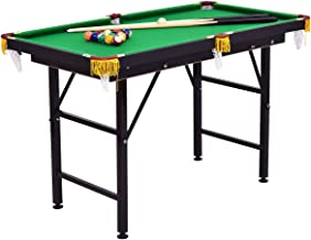 """Costzon 47"""" Folding Billiard Table, Pool Game Table Includes Cues, Triangle, Chalk, Brush for Kids (Black & Green)"""