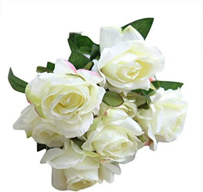 SILK ROSES 7cm TIED BUNCH SMALL BOUQUET 7 x BRIDAL WHITE PALEST IVORY