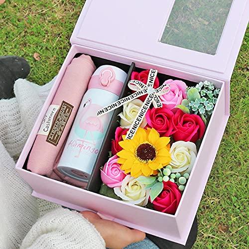 Ksnrang Geburtstagsgeschenk, um Mädchen Freundinnen zu senden-EIN rosa Schal + Thermoskasse + rosa Seifenblumen-Geschenkbox