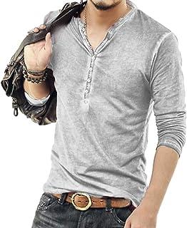 [ウィトパ] ダメージ加工 カットソー ヘンリーネック かっこいい 春物 オシャレ シャツ メンズ 5色 S~5XL