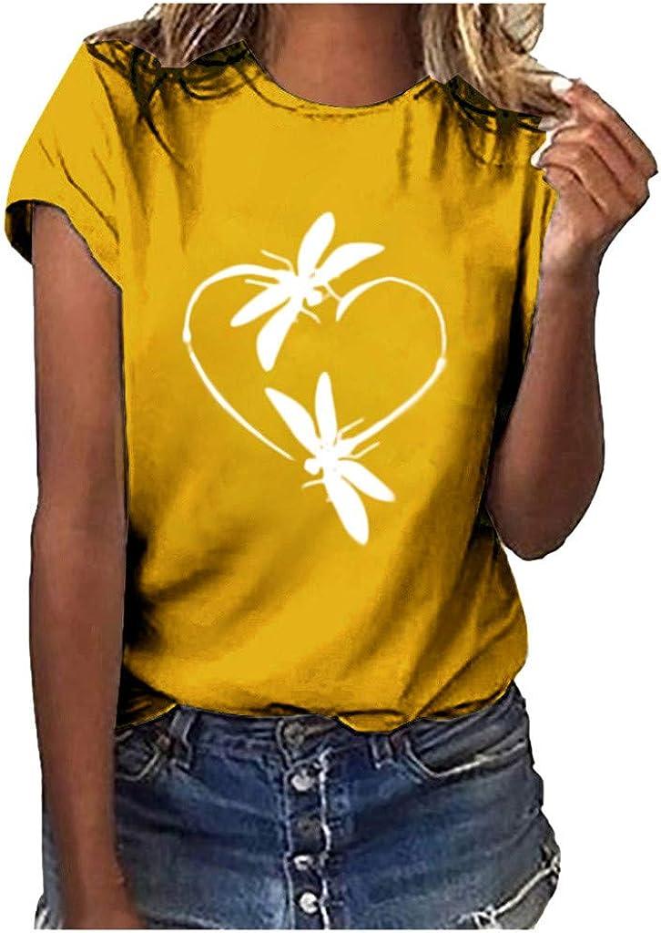 AODONG Shirts for Womens,Women Casual Print Short Sleeves O-Neck Loose T-Shirt Blouse Tops