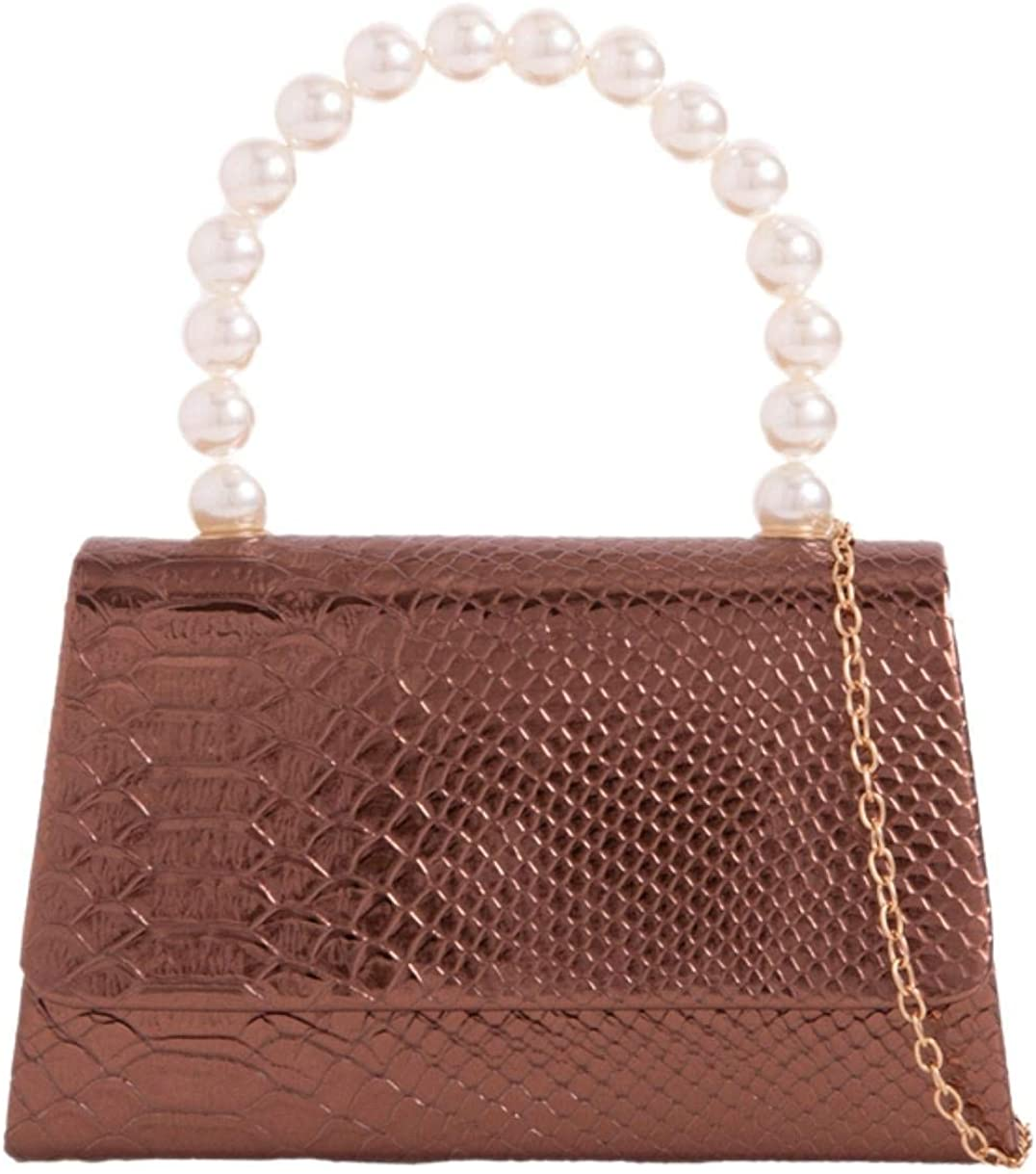 Girly Handbags Womens Metallic Croc Clutch Bag
