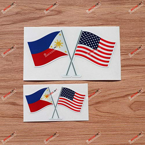 Philippines American Flags USA Pilipinas Filipino Vinyl Decal Sticker - 2 Pack Glossy, 4 Inches, 6 Inches