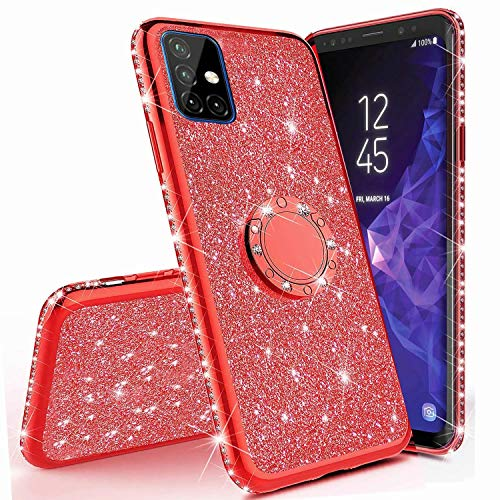 Miagon Hülle Glitzer für Samsung Galaxy M51,Glänzend Mädchen Frauen Weich Silikon Handyhülle mit Strass Diamant 360 Grad Ständer Schutzhülle Etui Cover