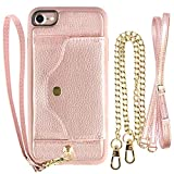 iPhone 6 Wallet Case, iPhone 6S Case with Credit Card Holder Slot, LAMEEKU Women Magnetic Protective Leather Purse Phone Case with Crossbody Chain Strap Wrist Strap for iPhone 6 / 6s 4.7' Rose Gold