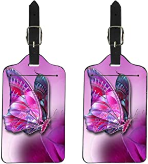 Showudesigns Set of 2 Luggage Tags ID Identifier Tag Labels for Suitcase Bag Butterfly Pink
