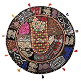 Stylo Culture Étnico Decorativo Ronda Bohemia Cojines De Suelo Yoga Gigantes Patchwork Fundas Cojines Navideños Negro 80x80 cm Algodón Bordado Vintage Decoración del Hogar Funda De Almohada