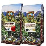 Java Planet Organic Coffee Beans Low Acid Variety Set - Colombia & Guatemala Single Origin Low Acid Arabica Whole Bean Coffee Certified Organic