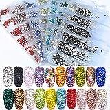 BLINGINBOX 1584pcs 2028 Nail Rhinestones Flatback Glass Charms Colorful Non Hotfix Rhinestone for Nail Art 6 Sizes - ss4~ss12 (Transparent Amethyst)