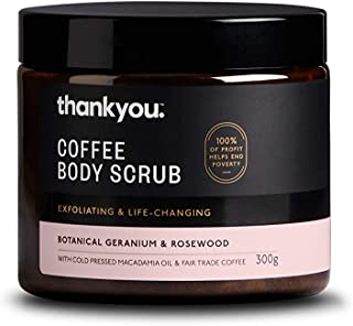 Thankyou Coffee Body Scrub Botanical Geranium & Rosewood - Exfoliating, 300g