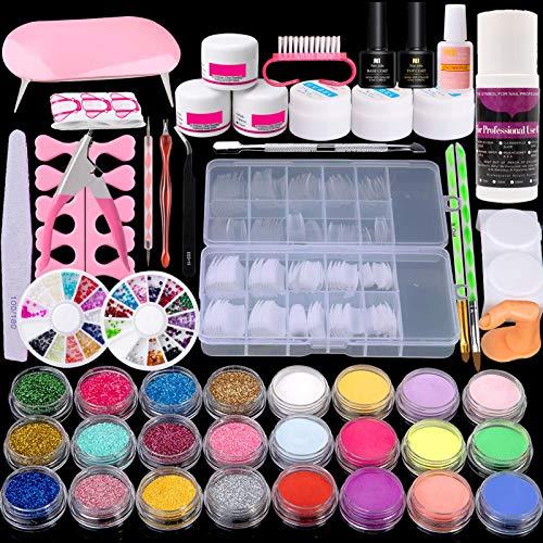 Kit de uñas acrílicas Rechoo Manicura Nail Art Set Líquido Pincel UV...