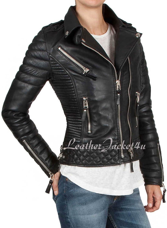 Women's Stylish Genuine Lambskin Leather Jacket 01