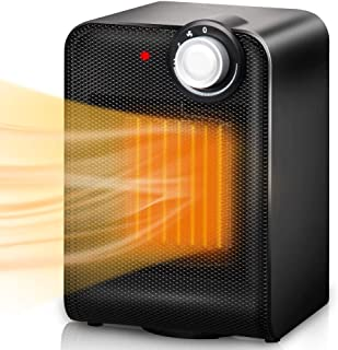 Electric Space, Portable Ceramic Heater with 1500W Adjustable Thermostat Tip-Over & Overheat Protection, 3s Instant Warm, Oscillating, Home Floor Desk Fan Office Garage Indoor Heater