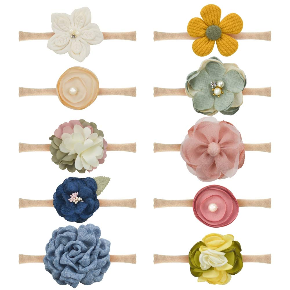 Baby Girls Flower Bow Headbands Floral Hair Bow Band Soft Nylon Elastic 10PCS for Newborn Infant Toddlers by JIAHANG