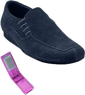 Very Fine Mens Latin, Rhythm, Dance Shoes - SERO102BBX - Flate Heel and Foldable Brush Bundle