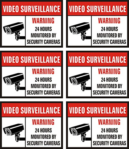 """Jancosta 24 Hour Video Surveillance Sticker Decals, Security Warning Sign for Business and Home, Indoor and Outdoor (3x4"""" Pack of 6)"""