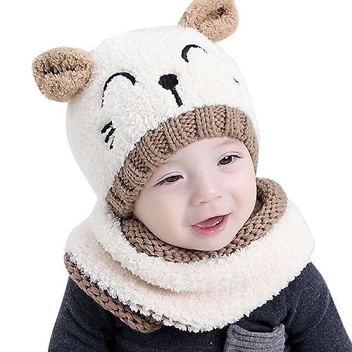 c6b49434e31 ZEYI Baby Girls Boys Warm Soft Knit Bear Hat Toddler Winter Crochet Beanie  Cap Circle Scarf