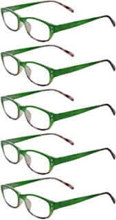 Inlefen Unisex full frame retro fashion 5 pack reading glasses 1.0 to 3.5
