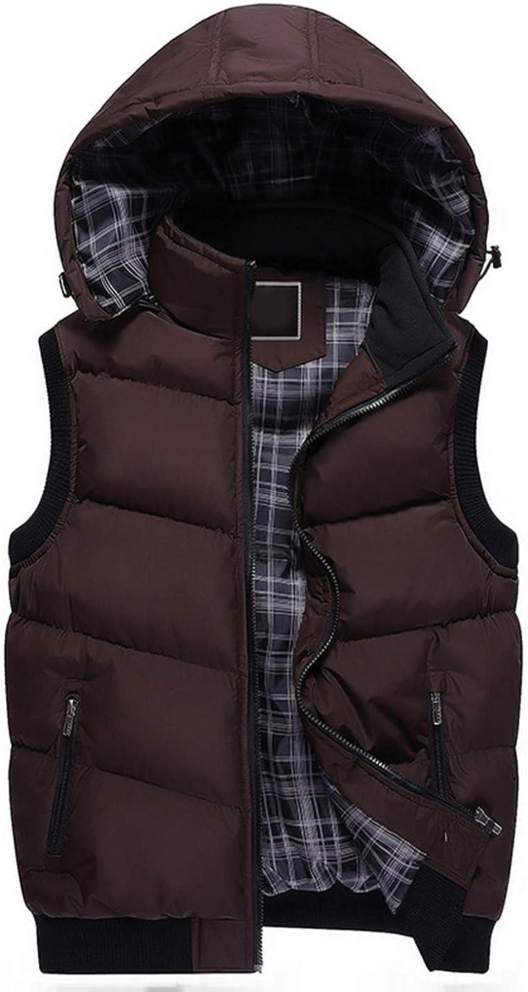 Uaneo Men's Short Sleeveless Slim Thicken Hoodie Padded Zip Puffer Jacket Vest(Coffee-M)