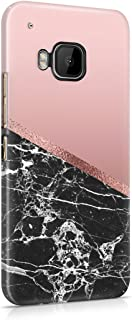 Black Cracked Marble & Rose Gold Blocks Hard Plastic Phone Case For Htc One M9