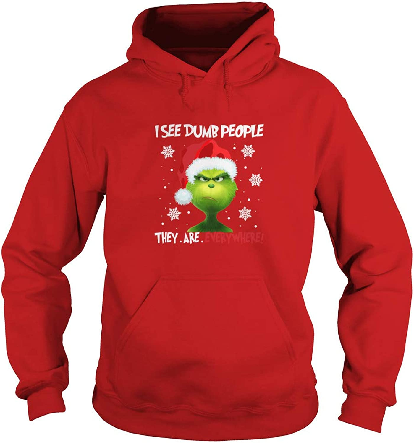 Grinch I See Dumb People They Are Everywhere Christmas Adult Hoodie