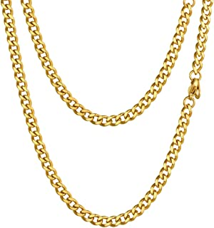 PROSTEEL Stainless Steel Cuban Chain Necklace, Silver/Gold/Black Tone, Nickel-Free, Hypoallergenic Necklace, W: 4.8mm-14m...