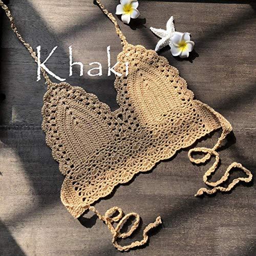 N/ A Bikini Estampado, sin Espalda Crochet Knit Beach Halter Tops Chaleco Camisa Crochet Top, XL