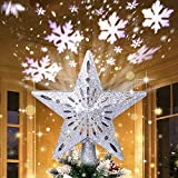 AerWo Christmas Tree Topper Lighted Star Tree Topper with Rotating Snowflake Projector...