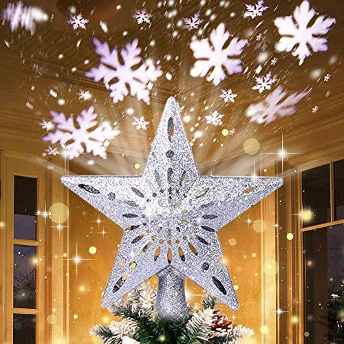 AerWo 3D Silber Stern Weihnachtsbaumspitze beleuchtet glitzernde Stern Baumspitze mit rotierendem Magie Cool White Snowflake Projektor für Weihnachtsbaum Ornament