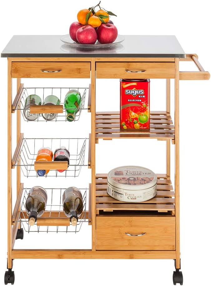 Binrrio Dining Trolley Special price for a limited time Kitchen free Storage Cart Rolling Wheels Wo on