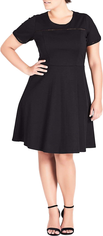 City Chic Women's Apparel Women's Plus Size Short Sleeve, Skater, Knee Length, Neck Detailed Dress