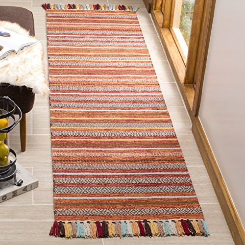 Safavieh Montauk Collection MTK901D Handmade Boho Stripe Fringe Cotton Runner, 2'3